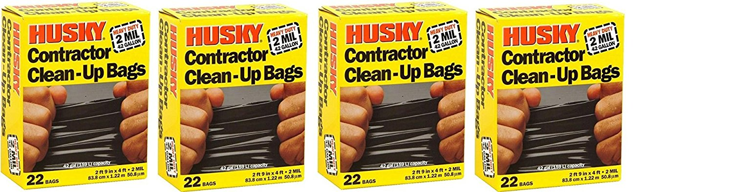 Husky Hk42wc022b Contractor Clean-up 22 Bags, 42 Gallon (4 x 22 Bags,)