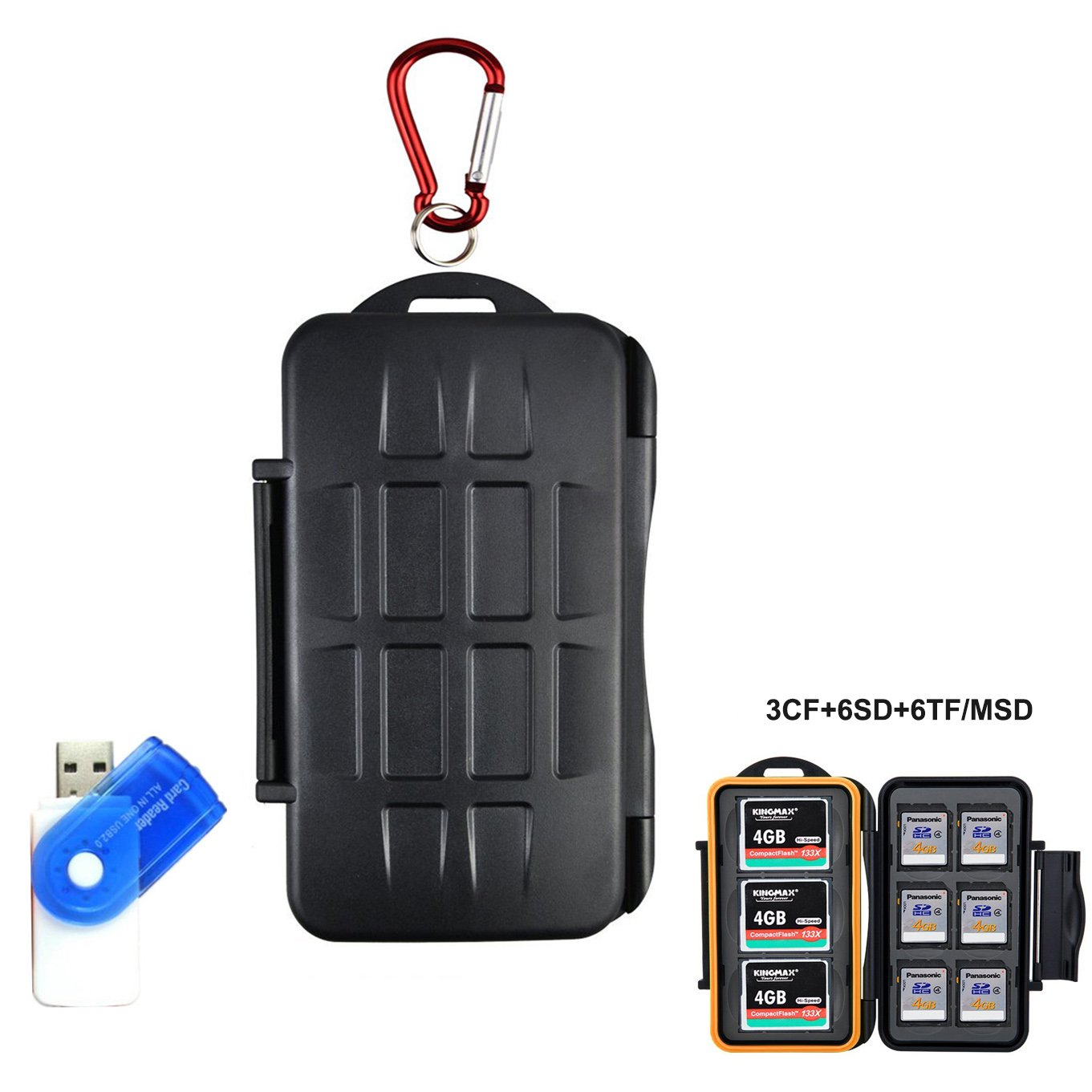 LXH 15 Slots Anti-shock Waterproof Hard Storage Memory Card Case Holder For SD card /CF( Compact Flash ) cards/ Micro SD cards with Carabiner & Card Reader ( For 3CF+6SD+6TF)
