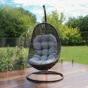 Steel Frame Power Coated Synthetic Rattan Wicker Patio Hanging Chair Outdoor  Swing Egg Chair Black Color