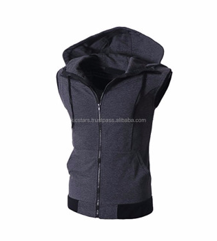 ef4b9f81fec9 Men s Sleeveless Workout Hoodie Zip-up Vests Gym Bodybuilding Lifting Tank  Tops