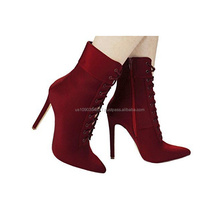 Women Social Lycra Lace Up Pointy Toe Side Zip Stiletto High Heel Ankle Booties