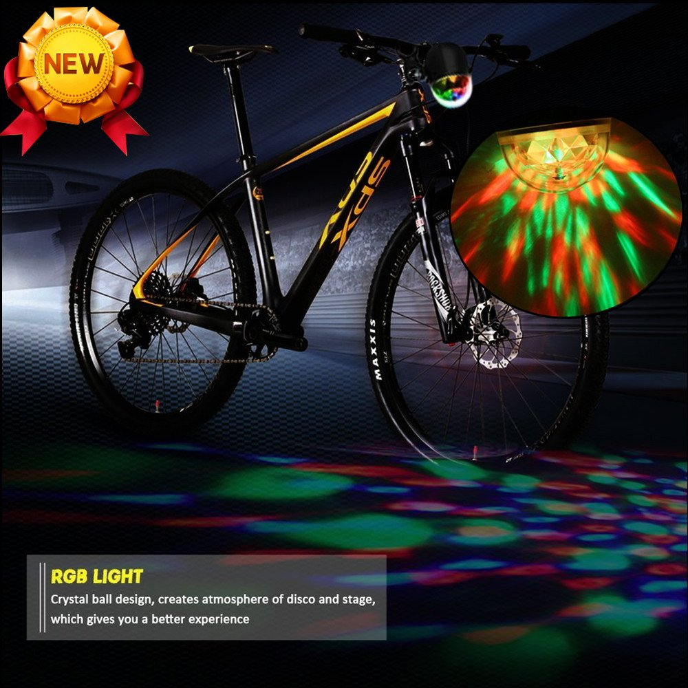 Bike Front Light, USB Rechargeable Headlight- Red Green Blue, 360° Rotation Color Changing LED Light- 1000mAh Battery- Ultra Bright Waterproof Disco RGB Light- Best Accessory for Bicycle, Party Time