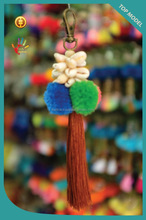 Customized Cowrie with Cotton Pompom And Tassel Keychain, Keyring in Handmade