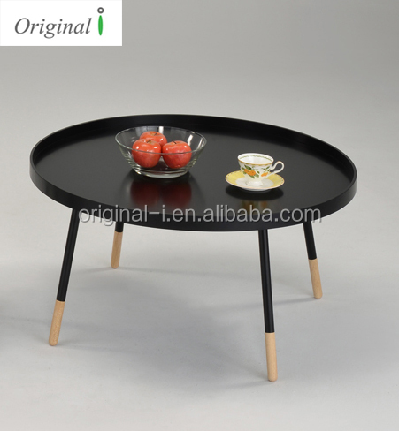 Modern round coffee table with solid wood leg / Metal coffee table