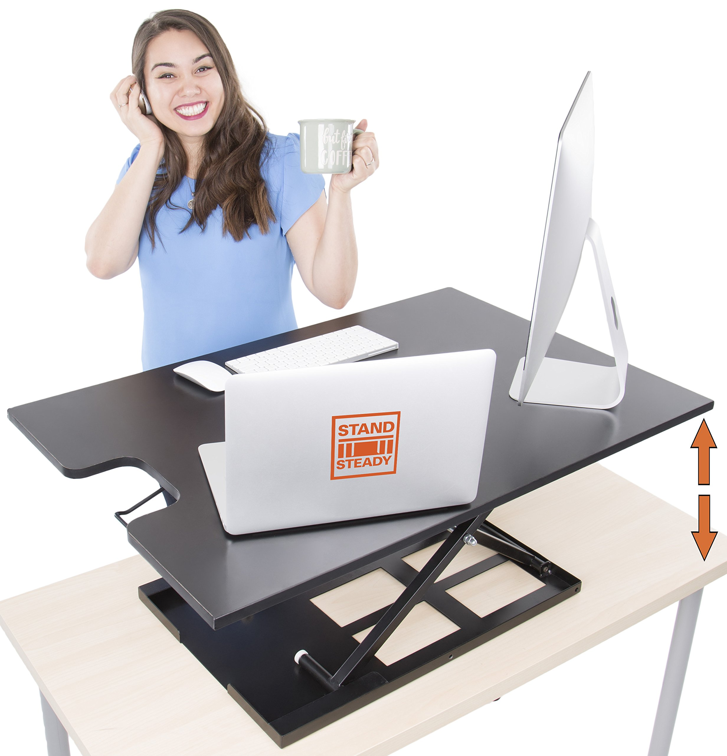 X-Elite Pro XL Standing Desk - Instantly Convert Any Surface to a Stand up Desk! Extra Large Surface Sit to Stand Desk Converter - Easily fits 2 Monitors! (X-Elite XL   36 inches   Black)