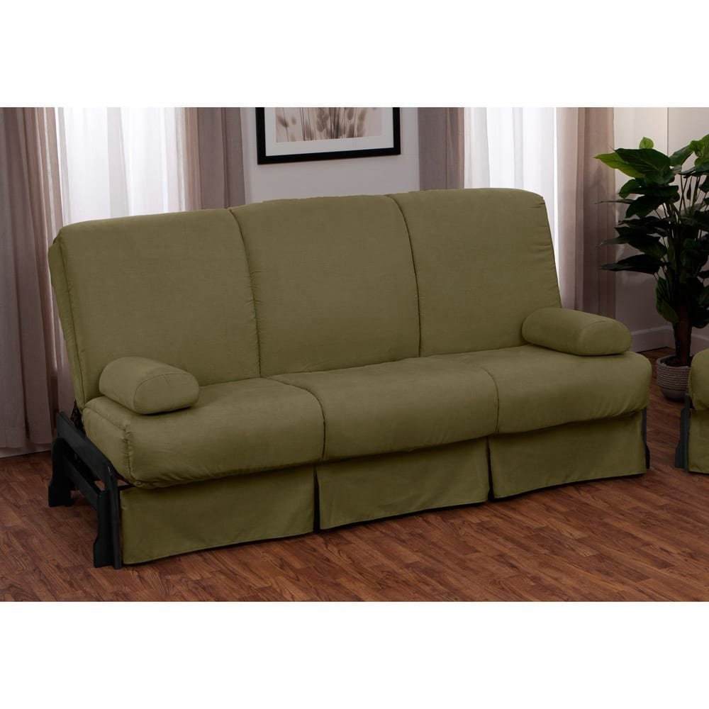 EpicFurnishings Boston Perfect Sit & Sleep Pillow Top Full-size Sofa Bed Walnut Arms with Leather Look Navy Upholstery