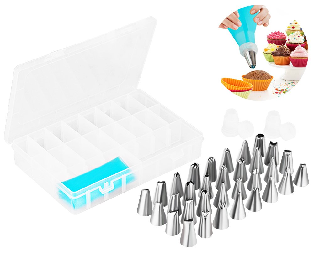 Crystyle Cake Decorating Supplies 36 Pieces Kit,32 Stainless Steel Icing Tips,2 Reusable Couplers,2 Silicone Pastry Bags Baking Decorating Set for Cupcakes Cookies