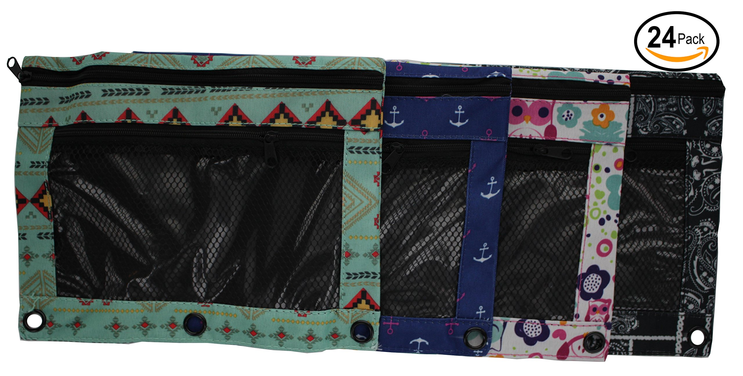 Emraw 24-Pack Double Pocket Zippered Trendsetters Pencil Pouches with 3-Ring Grommet Holes & Quick View Mesh Pocket - Includes 4 Different Styles