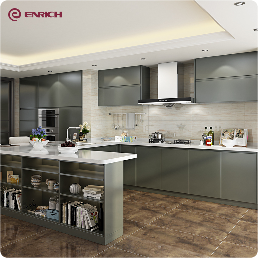 High Gloss Kitchen Island: Simple Design High/matt Gloss Grey Lacquer Island Kitchen