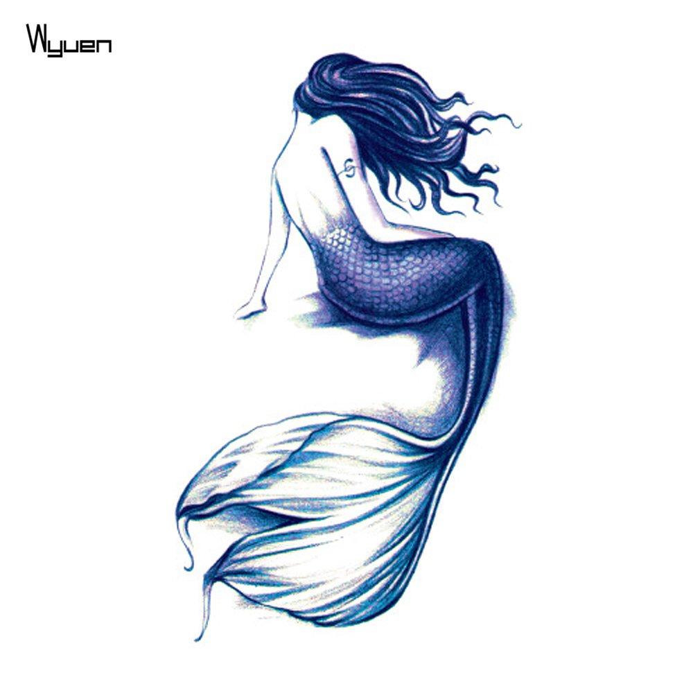 d3ab119e3990c Get Quotations · WYUEN 5 Sheets Mermaid Women Body Art Tattoo Sticker For Men  Fake Waterproof Temporary Tattoo New