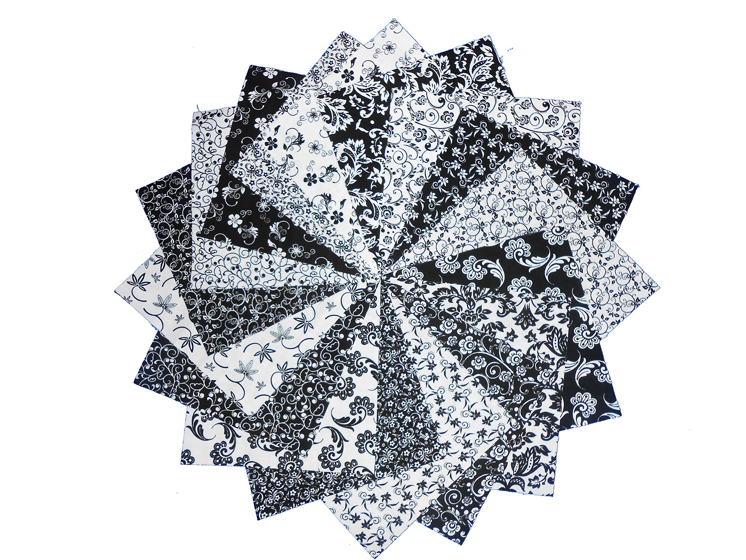 20 10 inch Beautiful Black/& WhiteDream Cotton Solids Layer Cake Quilting Fabric Squares-10 of Each Color