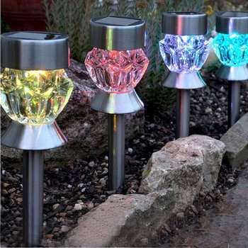 Garden Decor Sunlight Powered Stainless steel stick RGB solaire led solar pathway lights
