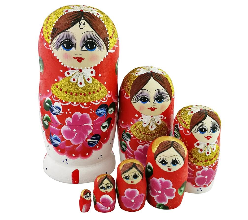 Beautiful Color Cute Little Girl Fairy Tale Handmade Wooden Russian Nesting