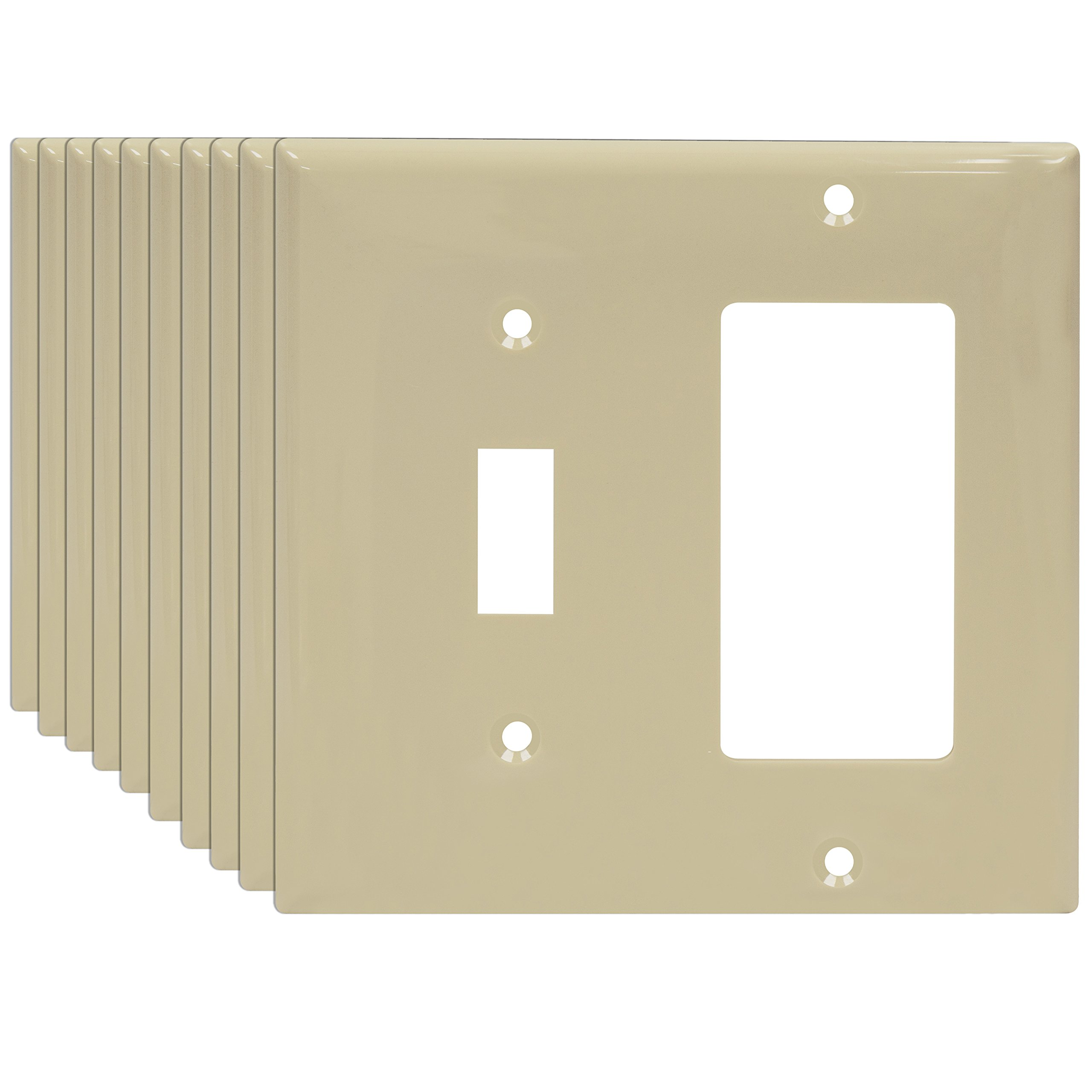 Buy 15 Amp Disposal Decorator Wall Switch 120 Volt Single Pole Ivory Toggle Enerlites 881131 I 10pcs Plate Combination Home Electrical Rocker Outlet Cover 2 Gang Standard Size Pack Of 10