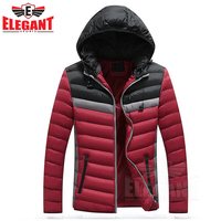 2019 Winter Jacket Men Warm Cotton Padded Coat Mens Casual Hooded Jackets Handsome Ticking Parka Plus size Slim Coats