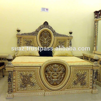 American country design wood carved single bed , Bedroom Furniture Solid Wood Carved King Bed , European style white wood bed