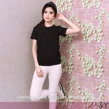 Black Simple Blank T-Shirt Printed Embroidery by Reques Single Jersey OEM Service Cotton Made In Indonesia by stanleyandyuly.com