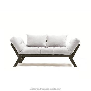 Sofa Allegro   Cream Fabric, Chocolate Color Beech Wood, Water Based Varnish
