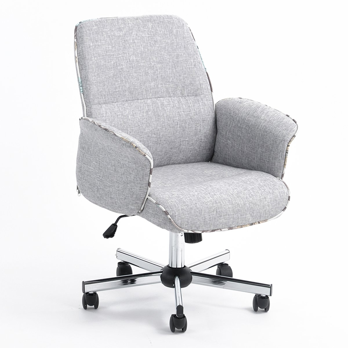 Vogue Carpenter Home Office Chair Height Adjustable Task Chair Fabric Leisure Grey Computer Chair With Arms