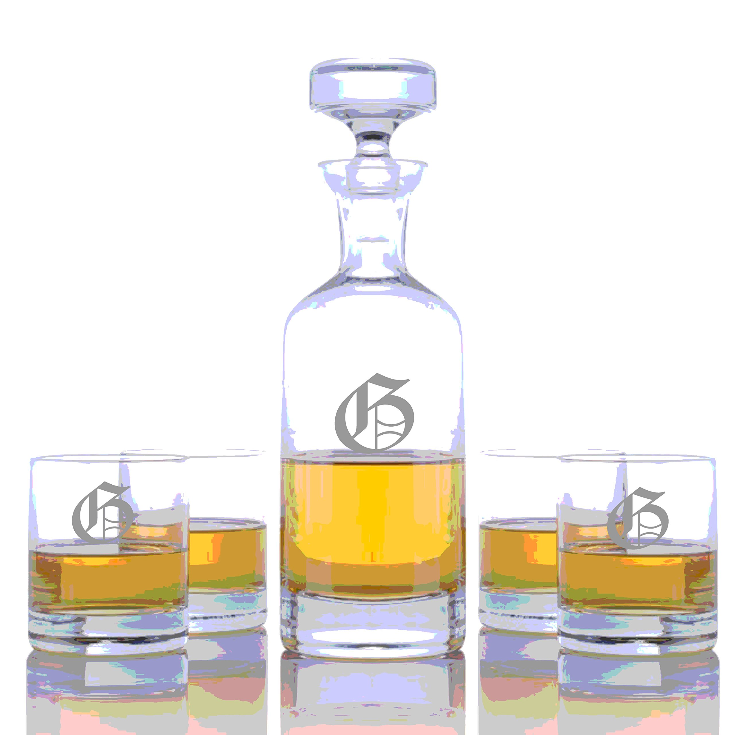 Personalized Ravenscroft Lead-free Crystal Wellington Whiskey Liquor Decanter & 4 Rocks Glasses Engraved & Monogrammed - Retirement Gift - Great Home Bar Addition (Custom 5 Piece Rocks Set)