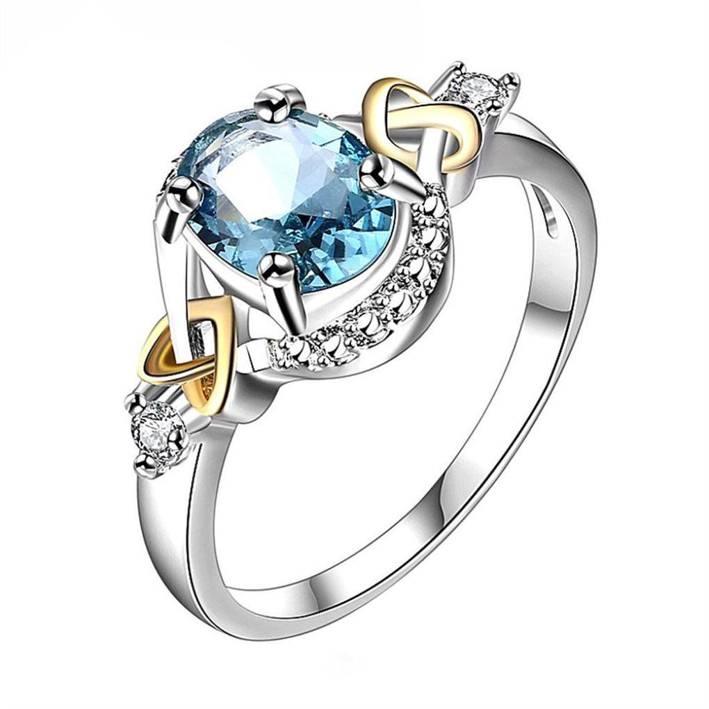 AutumnFall Women Fashion Wedding Engagement Ring Silver Plated Alloy Crystal Jewelry Rings (Size 7, Blue)