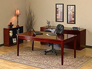 """Mayline Executive Table Desk W/Filing Cabinets 72""""W X 132""""D X 29""""H Desk: 72""""W X 36""""D X 29""""H Credenza: 72""""W X 20""""D X 29""""H Bookcase: 34 5/8""""W X 12""""D X 29""""H Desk Work Surface 1 1/4"""" Thick - Cherry"""