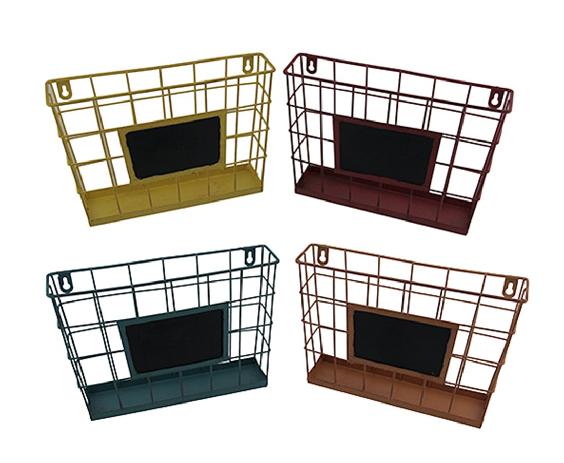 Metal Chalkboards Set of 4 Colored Metal Wire Wall Mounted Baskets W/Chalkboard 11 X 7.5 X 2.5 Inches Multicolored