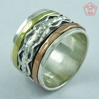 Attractive Triple Tone Unique Design Handmade 925 Sterling Silver Spinner Ring Jewelry Manufacturer India
