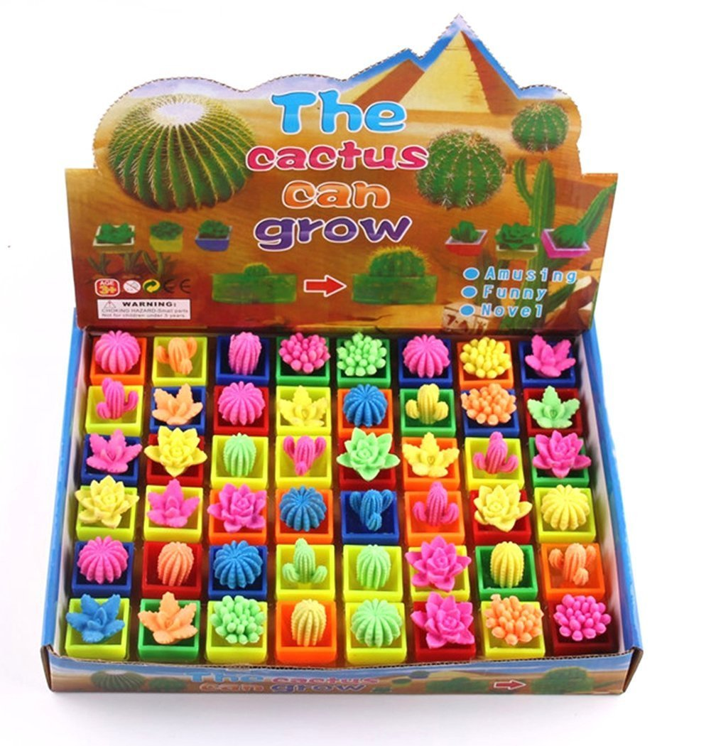 UTOPP 48 Pcs Growing Cactus Ball Water Swell Up Colorful Cactus Plants Children Kids Magic Expansion Toys