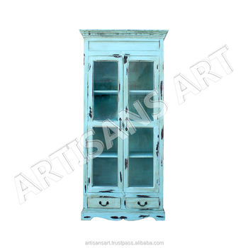 Vintage Living Room 2 Door Glass Display Cabinet, Antique Sky Color  Almirah, Shabby Chic