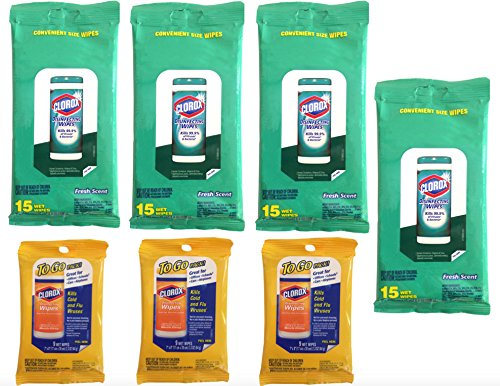 Clorox Disinfecting Wipes (7 Packs) Travel Size, 4 Fresh Scent Packages & 3 Citrus Scent To Go Packages (87 Wipes Total) Value Pack Bundle