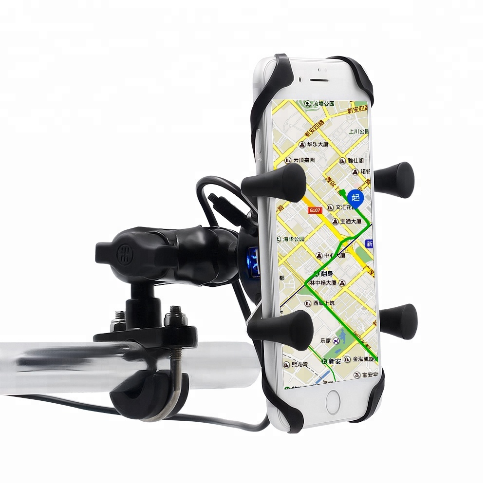 Universal Motorcycle Bike Handlebar Mounted Mobile Phone Holder With USB Charger For 3.5-6 Inch Cell Phone, Black