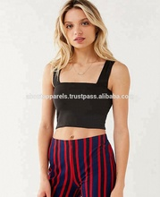 Hot Sales New Fashion Custom Elastische Lange Mouwen Hals Vlakte Crop Tops, Side Lijnen Vierkante Hals Crop Top,