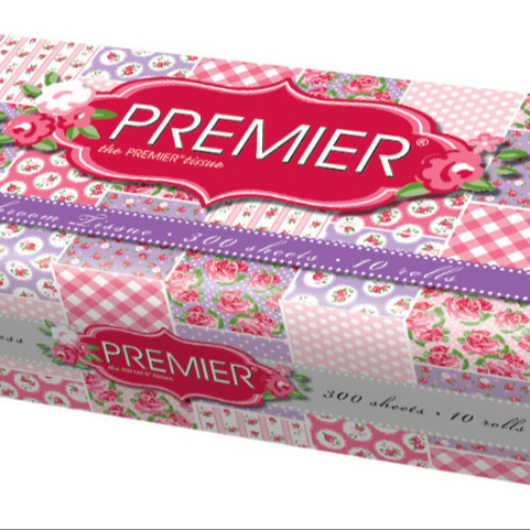 Premier White Embossed Toilet Paper Soft Toilet Roll 2-ply