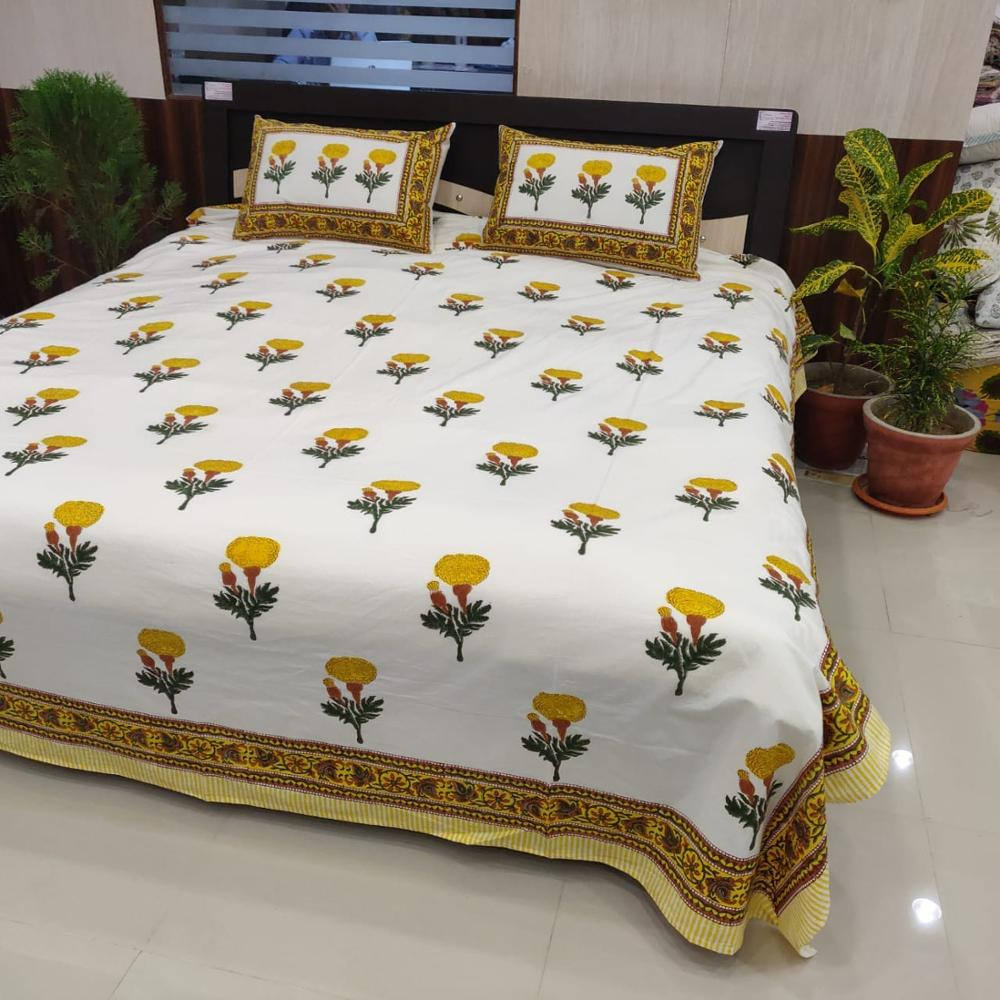 Yellow colored 100/% Cotton bed sheet king size with combo pillow covers