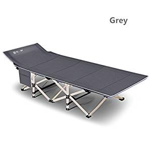 yuewo Metal Fold up Guest Visitor Single Foldable Folding Bed Recliner Travel Camping (Grey)
