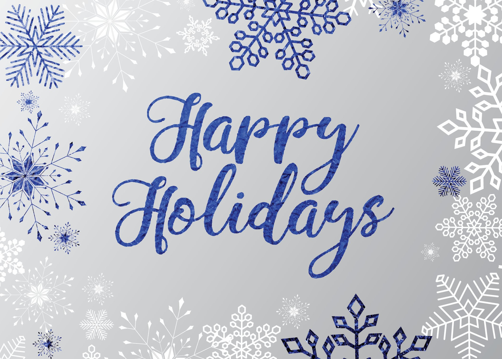 Holiday Foil Printed Greeting Cards - H1709. Greeting Card Accented by Blue Snowflakes and Happy Holidays in Blue Foil. Box Set Has 25 Greeting Cards and 26 Silver Foil Lined Envelopes.