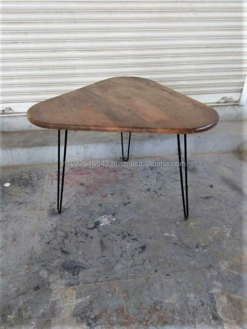 - Industrial Hairpin Leg Wooden Top Coffee Table,Vintage Triangle