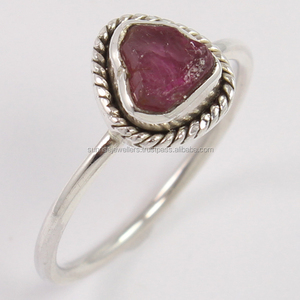Raw Rough PINK TOURMALINE Ring All sizes available, 925 Stamped, Online Silver Jewelry Store