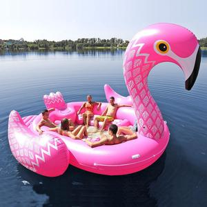 Custom giant inflatable flamingo pool toy/water floating inflatable 6 person flamingo