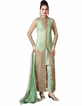 Women S Attractive Semi Stitched Pista And Golden Colour Stylish