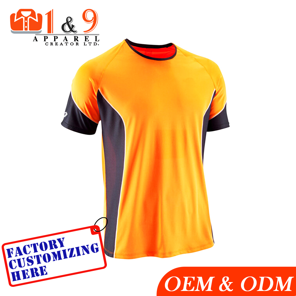 Newest Design Sports T Shirt For Men Orange Color Round Neck Custom