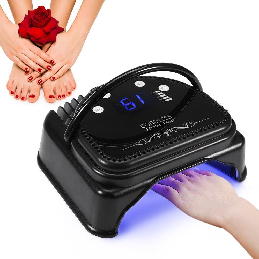 64W Nail Polish Dryer, 32pcs LED Professional Gel Nail Lamp with Quick Curing UV Light Cordless Rechargeable Smart Sensor Manicure Tools