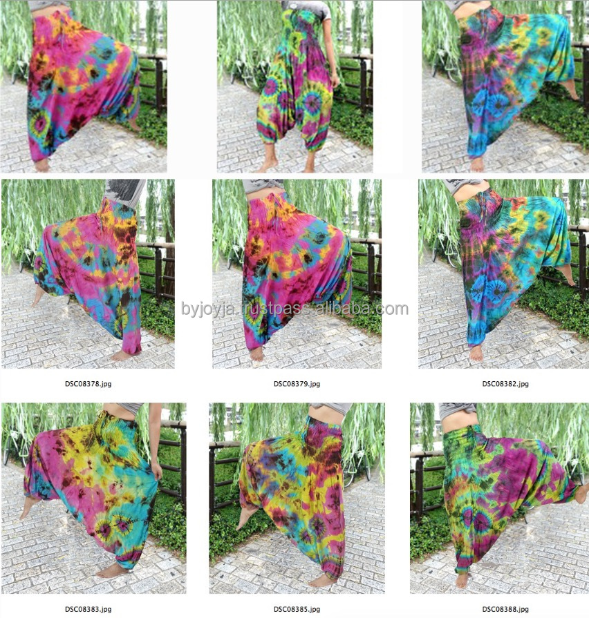 Hippy Boho Trousers handmade tie dye color belly dance baggy HAREM PANTS 2 IN 1 JUMPSUITS PLUS