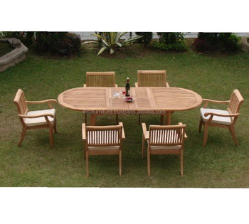 Luxurious Teak Oval Extending Table And Stacking Chairs Garden - Teak oval extending table