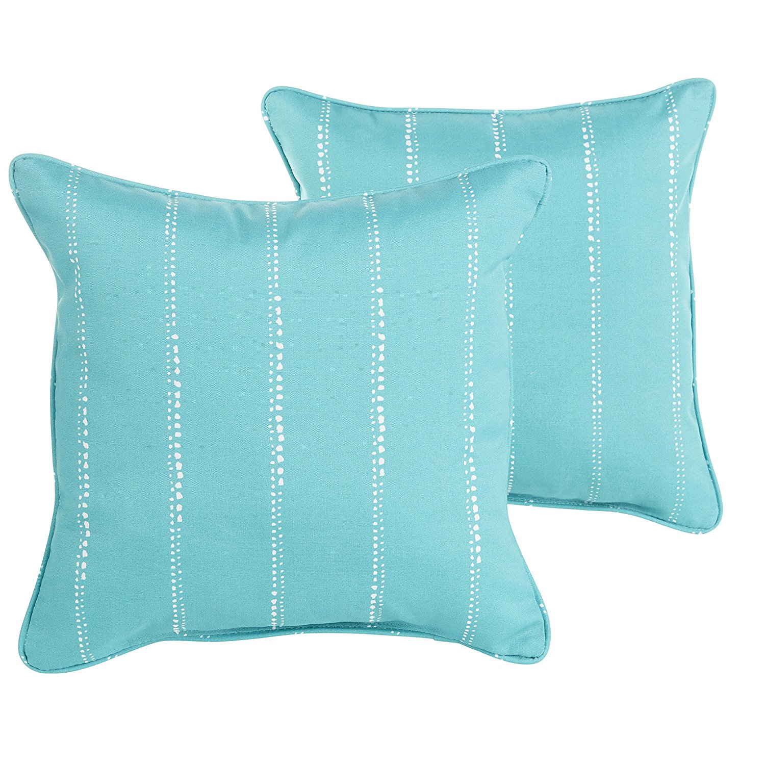 Mozaic Company Indoor/ Outdoor 20-inch Corded Pillow, Aqua Dotted Stripes, Set of 2