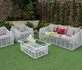 Synthetic Rattan Sofa Set For Outdoor Garden Or Living Room Simple Design Poly Wicker Furniture