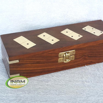 Exclusive design sheesham wood box with 28 wooden domino chip Set