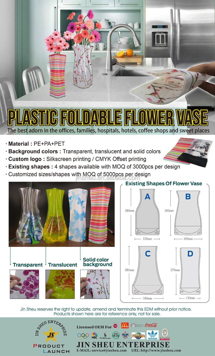 Wholesale Custom Unbreakable Cheap Pe Foldable Plastic Flower Vase