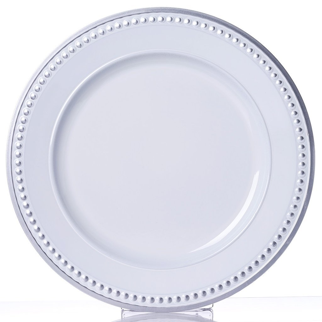 """Efavormart 13"""" Round Silver Rim Crystal Beaded White Acrylic Charger Plates Wedding Party Dinner Servers - Set of 6"""
